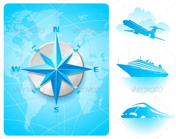 GraphicRiver Compass Rose and Contemporary Transport 1715987