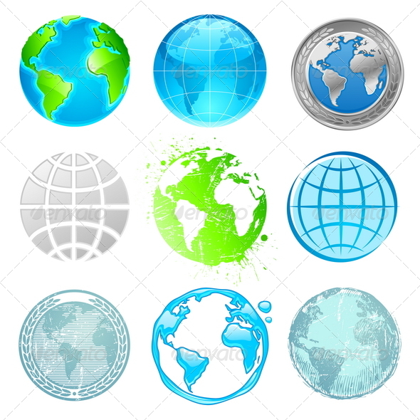 GraphicRiver Globe and Earth Vector Set 1716109