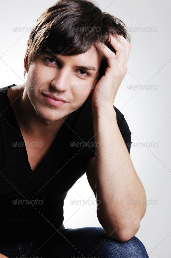 beauty adult man posing - Stock Photo - Images
