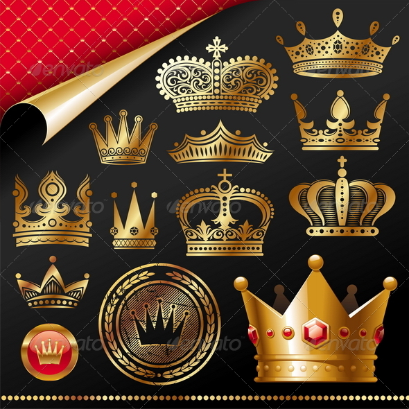 Set of Golden Royal Crown - Decorative Vectors