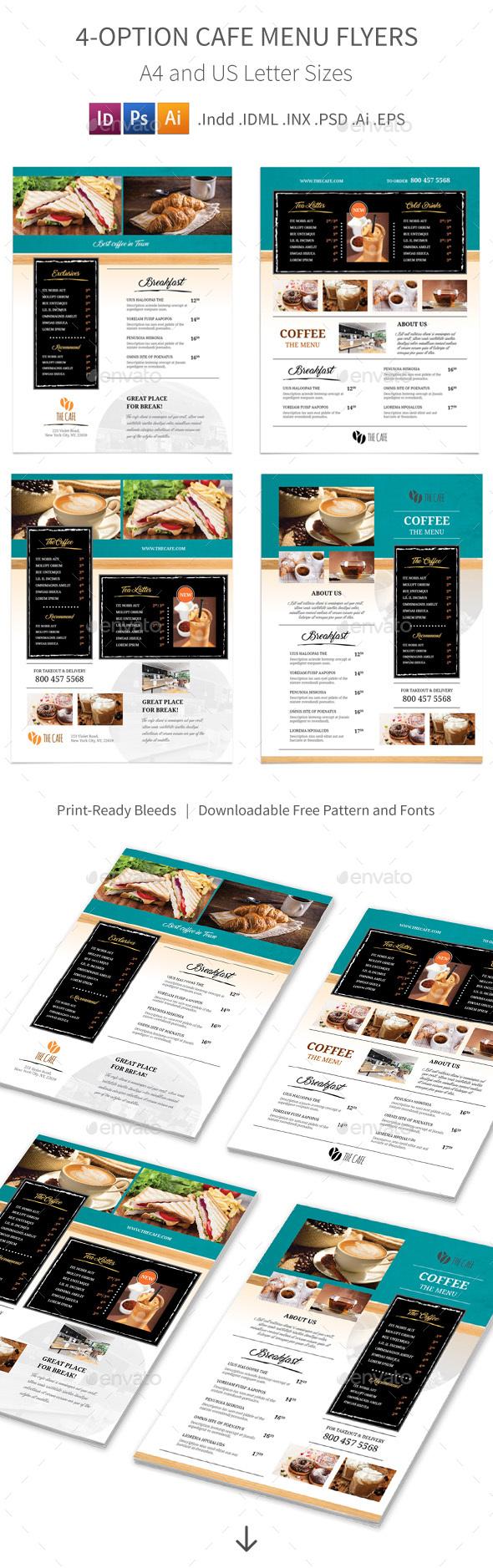 Cafe Menu Flyers 2 – 4 Options