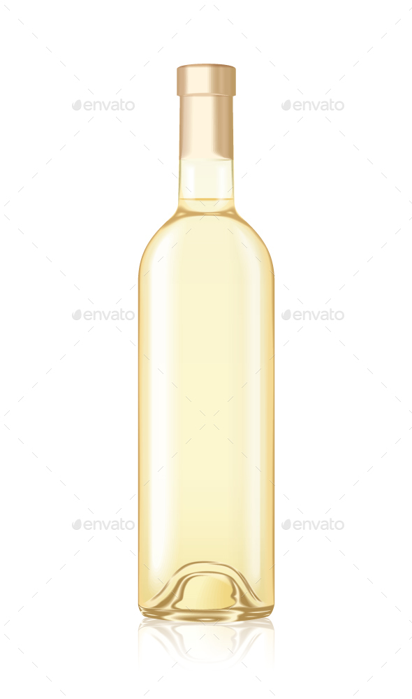 Mock-up Realistic White Wine Bottle Isolated