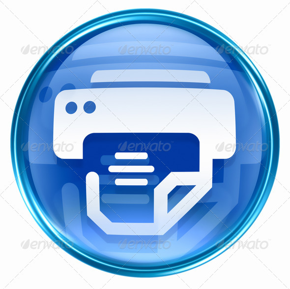 Stock Photo - PhotoDune printer icon blue isolated on white background 1717099