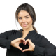Beautiful Girl Makes Heart Shape with Both Hands, Love