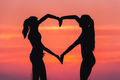 Young sporty women holding hands in heart shape at sunset