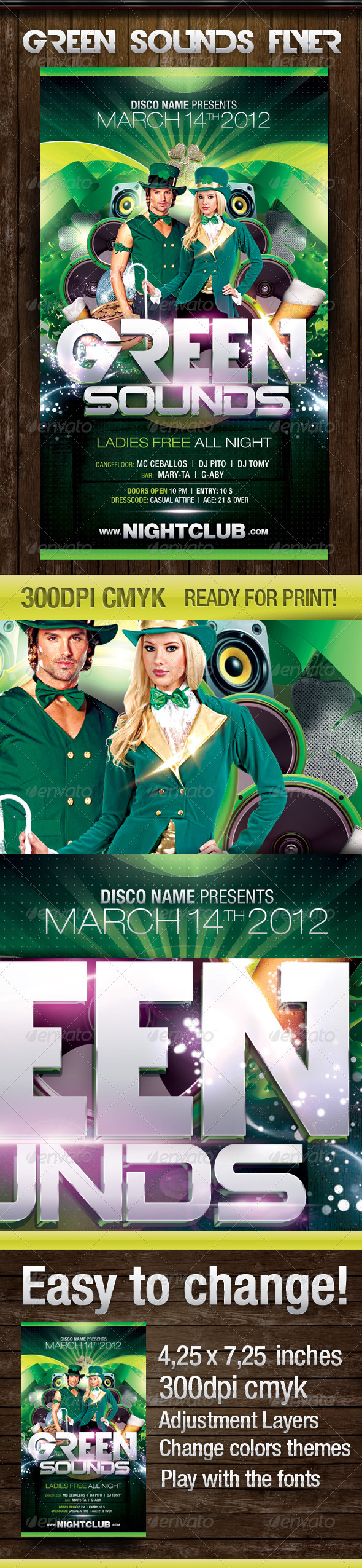 Green Sounds - St. Patrick´s Day Party flyer - Flyers Print Templates