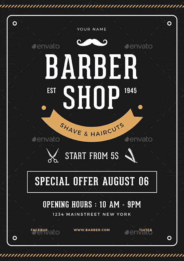 Barber Shop Flyer by vynetta | GraphicRiver