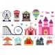 Amusement Park Colorful Objects Set