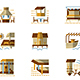 Flat Simple Vector Icons for Bungalows
