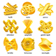 Pasta Types Icons Vector Set