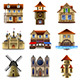 Medieval Buildings Icons Vector Set