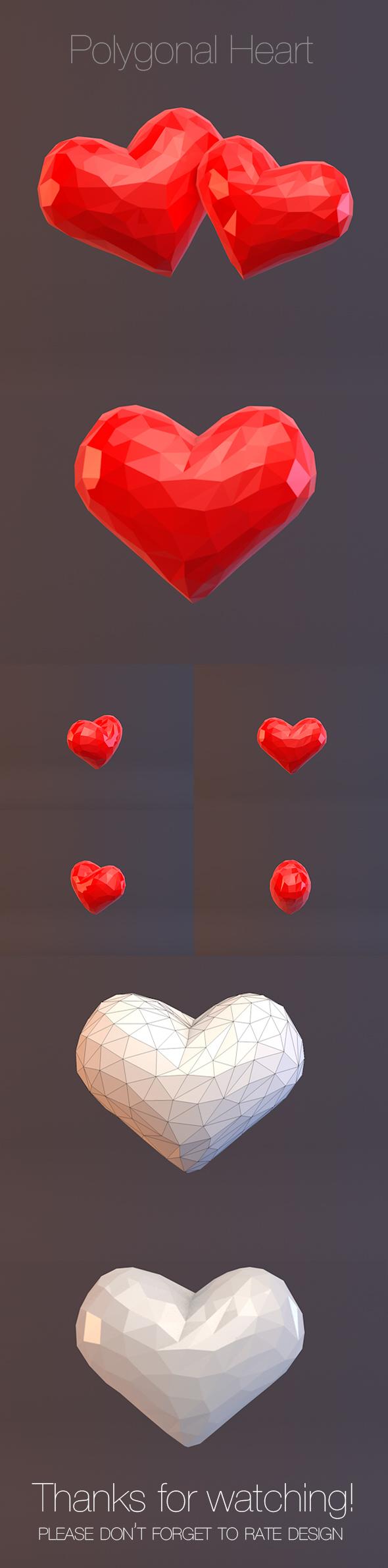 Polygonal Heart - 3DOcean Item for Sale