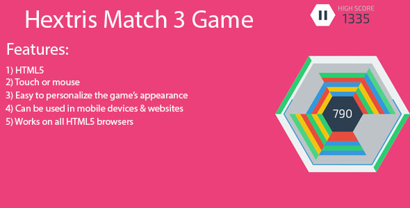Download Hextris match 3 HTML 5 game nulled download