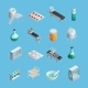 Pharmaceutical Production Icons Set
