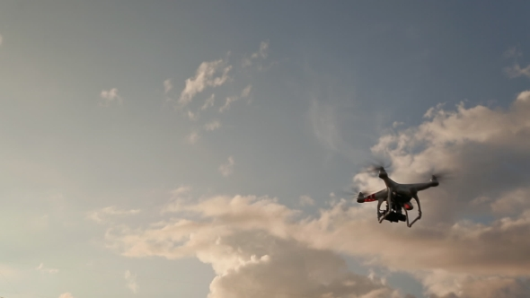 Download Drone With Camera Flying On Sunset. Fast Shooting. nulled download