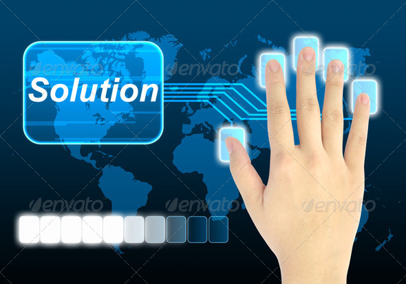 hand pushing solution button on a touch screen interface  - Stock Photo - Images