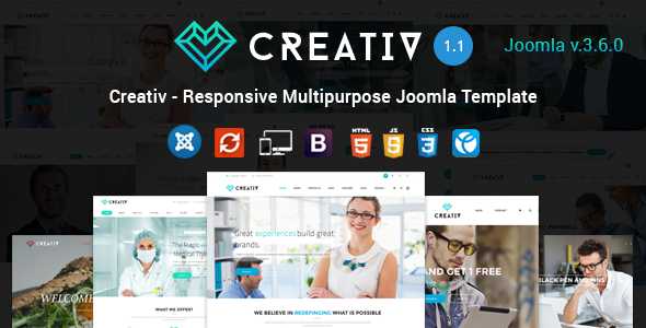 creativ preview.  large preview - Creativ - Responsive Multipurpose Joomla Template