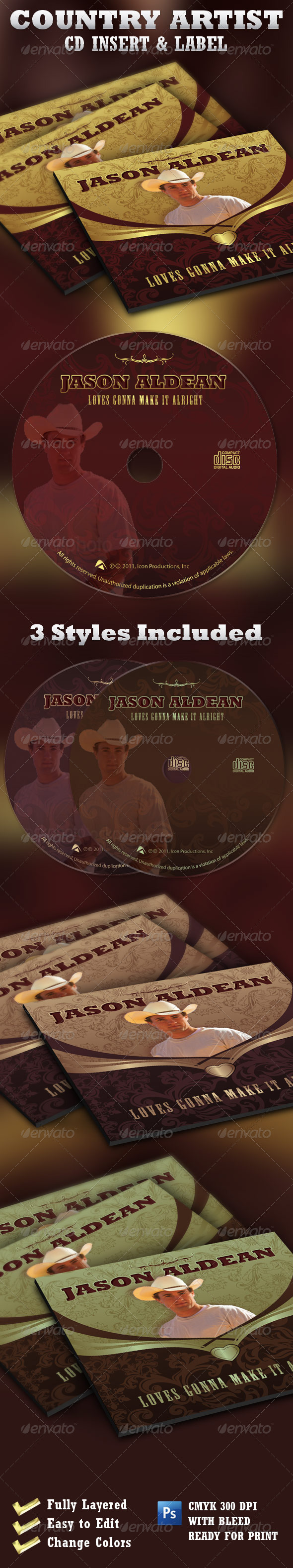 Country Artist  CD Label and Insert  Template - CD & DVD artwork Print Templates