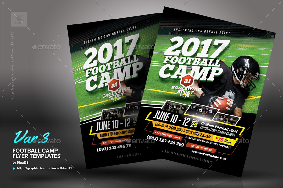 Football Camp Flyer Templates by kinzi21 – Camp Flyer Template