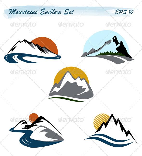 GraphicRiver Mountains Emblem Set 1719504