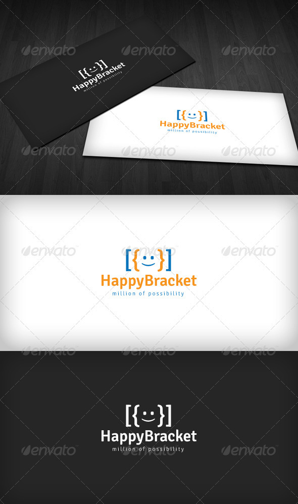 Happy Bracket Logo - Symbols Logo Templates
