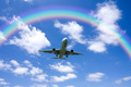 Aeroplane Clouds And Rainbow