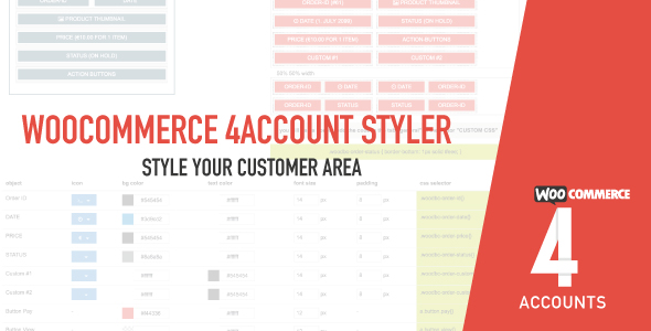 Woocommerce 4account - MyAccount Customiser