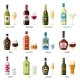 Alcohol Drinks Icon Set. Bottles, Glasses