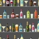Alcohol Drinks Seamless Pattern. Bottles, Glasses