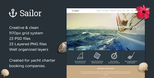 Sailor - Yacht Charter Booking PSD Template
