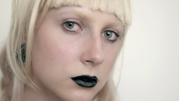 Download Girl In The Image Of Albino With Black Lips And White Eyes. Art Beauty Face. Picture Taken In The nulled download