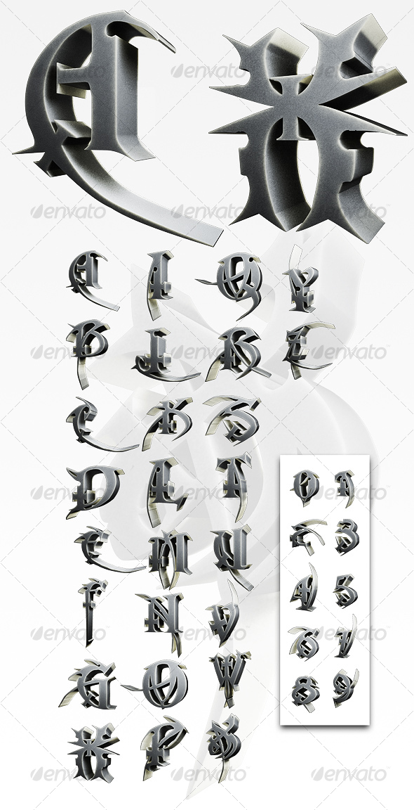 GraphicRiver 3D Macabre Alphabet Numbers 67027