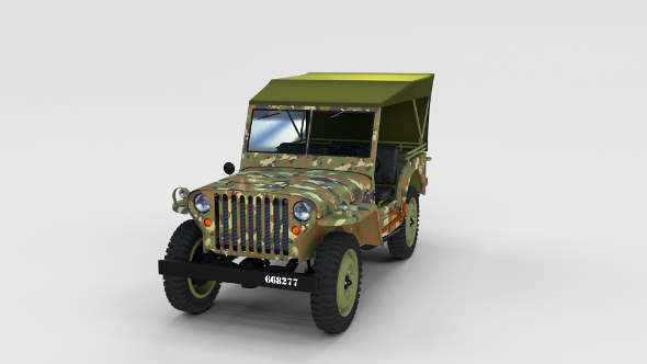 Full (w chassis) Jeep Willys MB Military Camo rev - 3DOcean Item for Sale