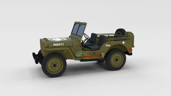 Full (w chassis) Jeep Willys MB Military rev - 3DOcean Item for Sale