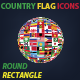 Country Flag Icons collection Rounded & Rectangle Style