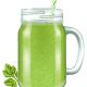 Raw Fresh Green Vegetable Smoothie in a Mason Jar Mug