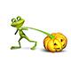 Illustration of a frog pulling a pumpkin