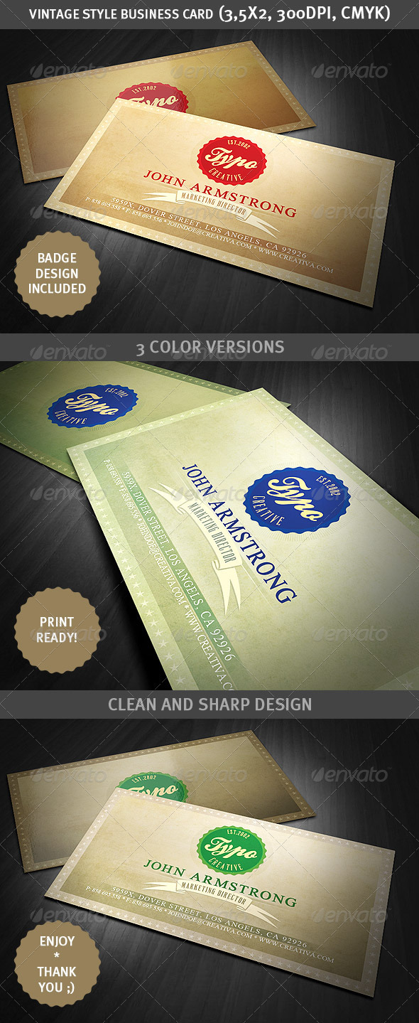 GraphicRiver Vintage Style Business Card 1721526