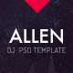 Allen: One Page professional PSD website template DJ, Producer and Musicians