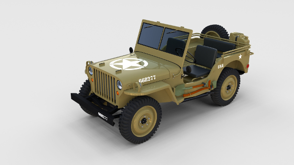 Full (w chassis) Jeep Willys MB Military Desert rev - 3DOcean Item for Sale