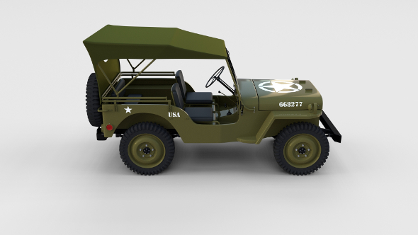 3DOcean Full w chassis Jeep Willys MB Military Top rev 17300442
