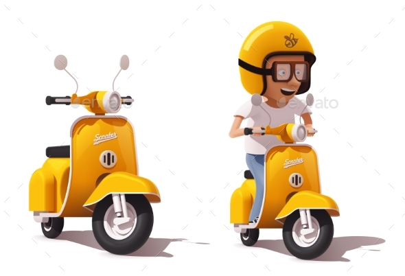 Vector Realistic Vintage Yellow Scooter