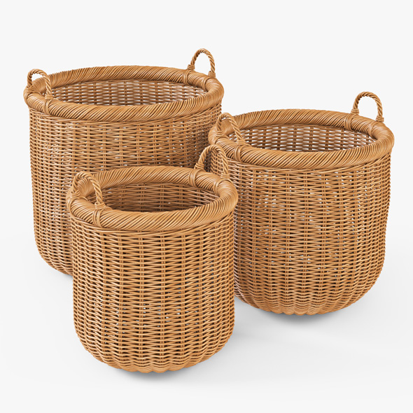 Wicker Basket 07 (Toasted Oat Color) - 3DOcean Item for Sale