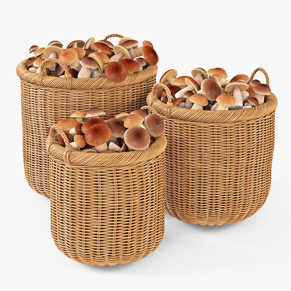 Wicker Basket 07 (Toasted Oat Color) with Mushrooms - 3DOcean Item for Sale