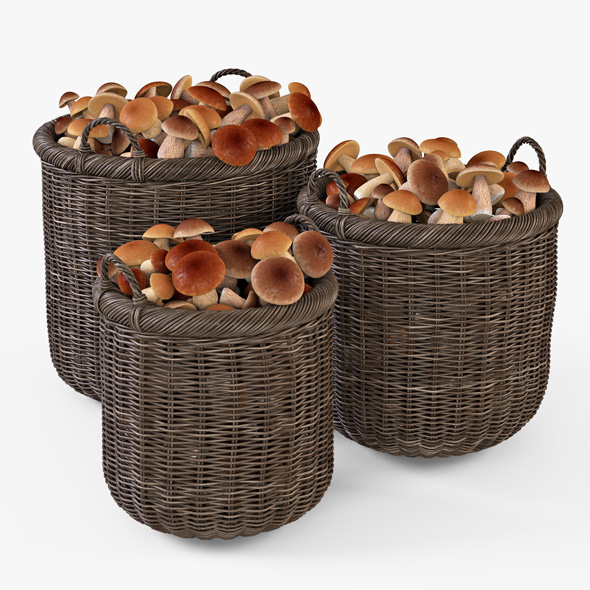 Wicker Basket 07 (Walnut Brown Color) with Mushrooms - 3DOcean Item for Sale