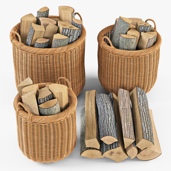 Wicker Basket 07 (Toasted Oat Color) with Firewood - 3DOcean Item for Sale
