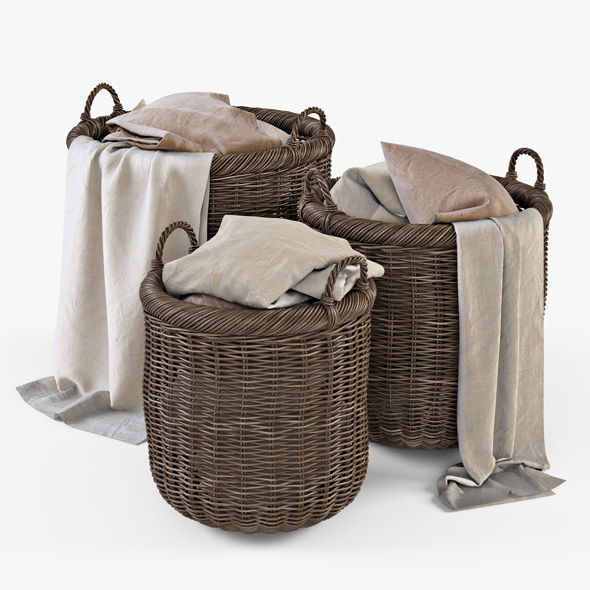 Wicker Basket 07 (Walnut Brown) with Cloth - 3DOcean Item for Sale