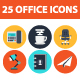 25 Office elements icon set