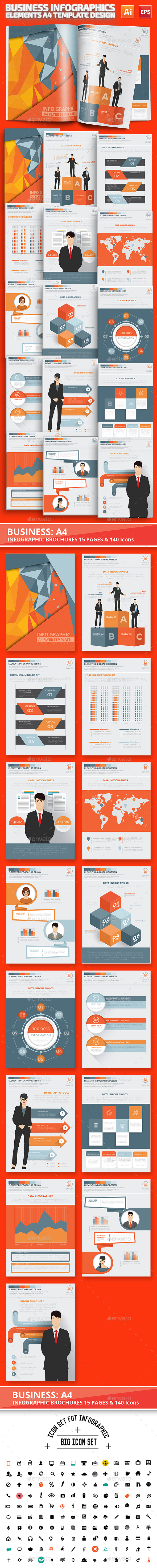 Business Infographics A4 Template Design