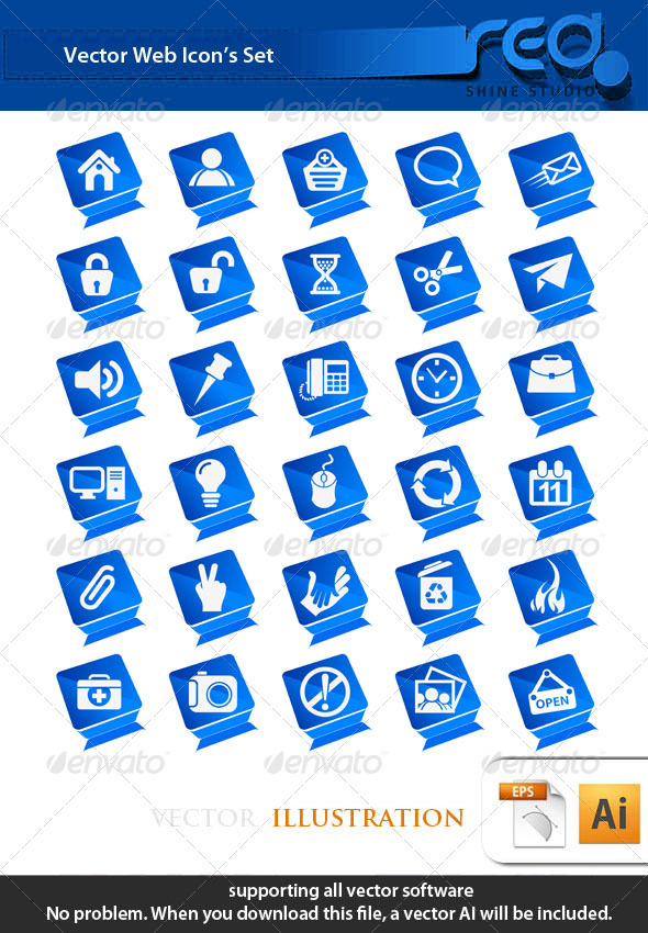 Blue Theme Web Icon Vector Mega Pack - Web Technology